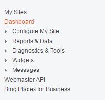 Bing menu