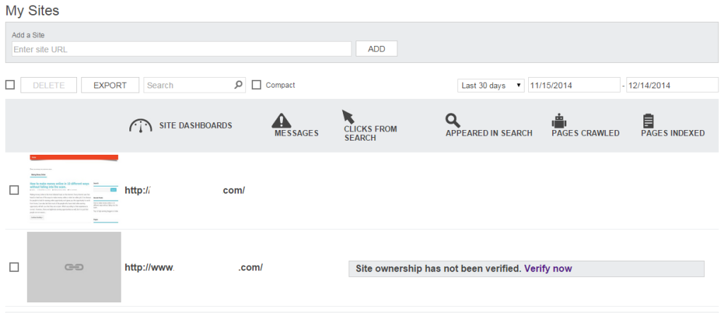 Bing webmaster tool site dashboard