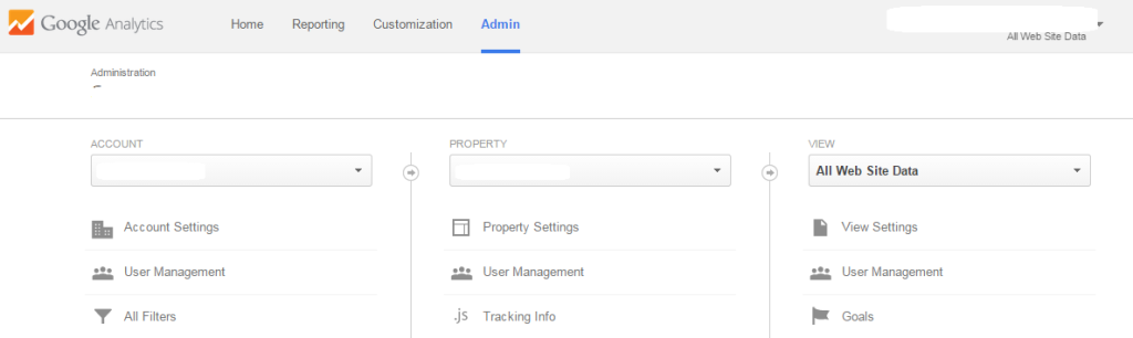 Google analytics account property and view