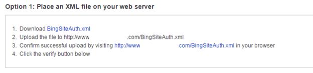 Verify website on Bing webmaster tool