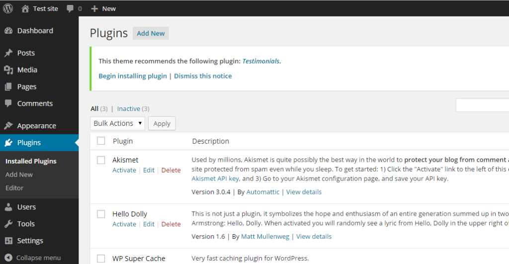 Wordpress installed plugin