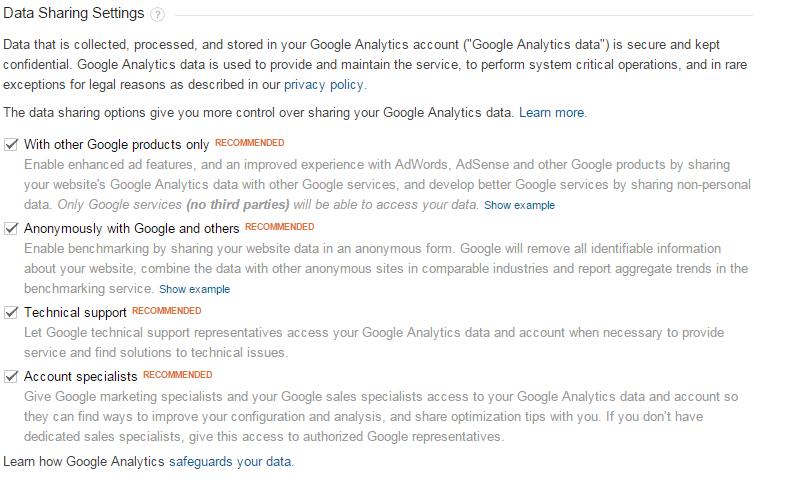 Google analytics data share settings