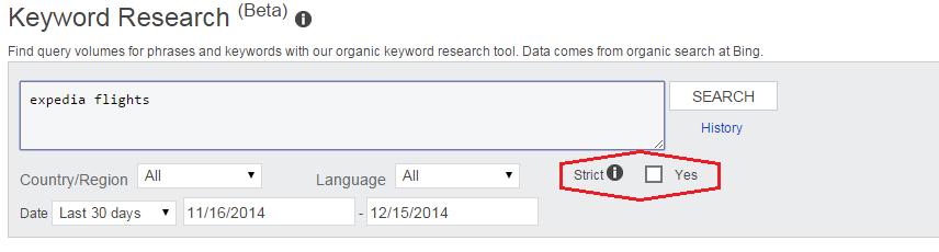 bing keyword research strict